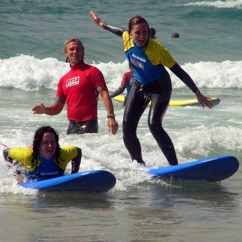 Baz teaching stoked girls to surf